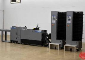 a photo of Duplo System 4000 20 Bin Booklet Making System with Stitcher, Folder, Trimmer, and Lifting Unit