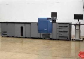 a photo of 2011 Konica Minolta C8000 Bizhub Digital Press with Relay Unit, 2nd Fuser Unit, Large Capacity Stacker, Saddle Stitch Unit and Fiery Print Server