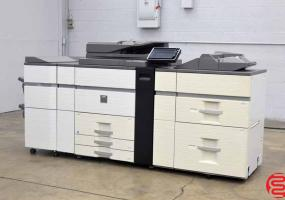 a photo of 2012 Sharp MX-M1204 Monochrome 120 PPM Digital Press - Less than 100k Impressions! with Large Capacity Tray, 500 Sheet Multi Bypass, Curl Correction Unit and 100 Sheet Staple Stacking Finishing - Click for Video!