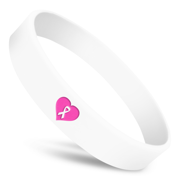 heart wristband with white silicone, pink heart and white ribbon