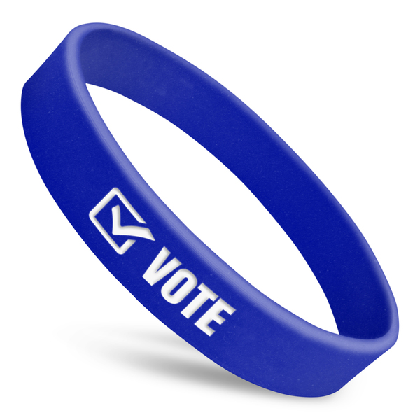 vote wristband in blue with white text and white checkmark