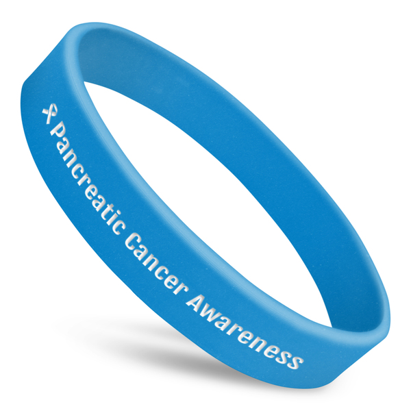 prostate cancer awareness wristband with blue silicone and white ink and ribbon