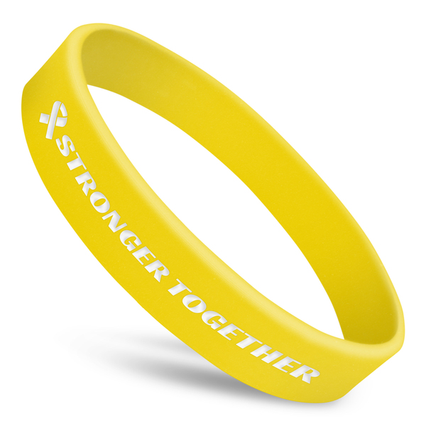 stronger together wristband in yellow silicone with white ink and ribbon