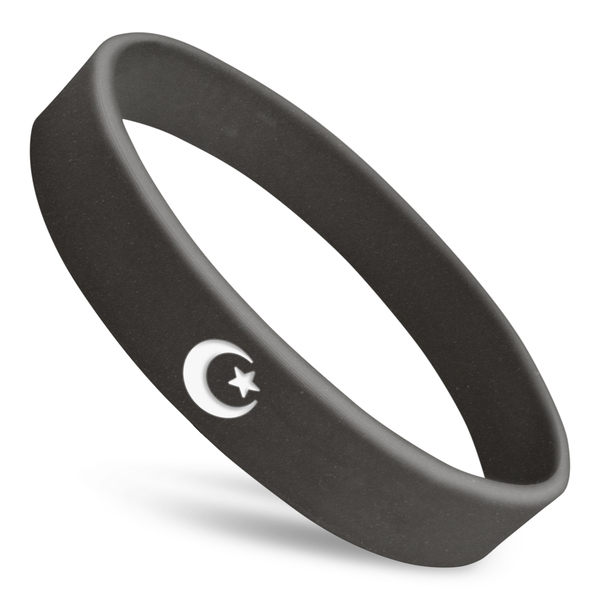crescent moon and star rubber wristband