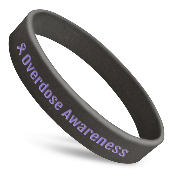 overdose awareness silicone wristband with black silicone and purple text and ribbon