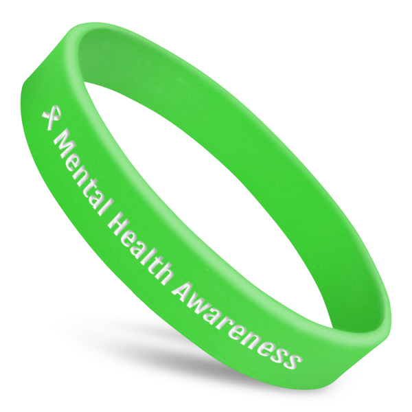 mental health awareness wristband in neon green silicone with white text and ribbon