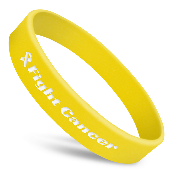 fight cancer awareness wristband in yellow silicone with white ink and ribbon