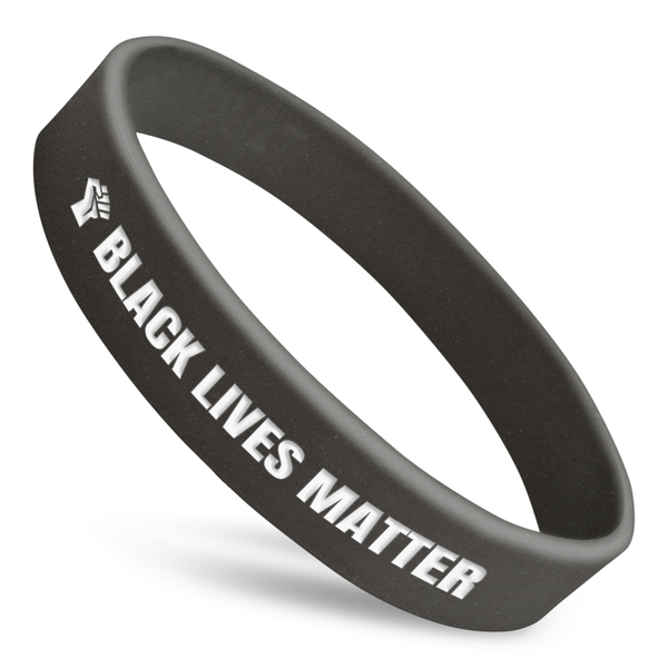 black lives matter custom wristband with raised fist in white