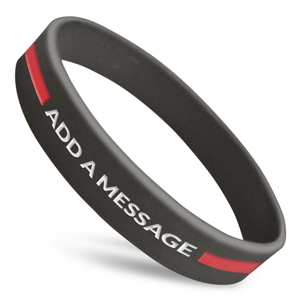 thin red line silicone custom wristbands