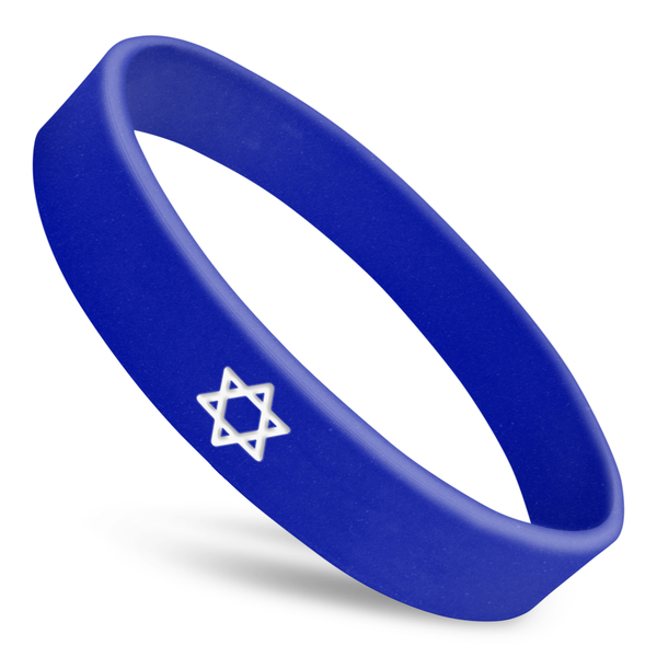 star of david custom wristband in blue with white ink