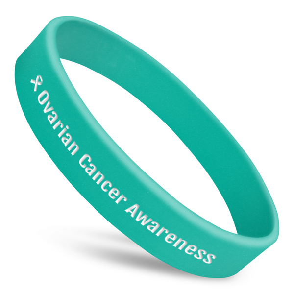 ovarian cancer awareness wristband with teal silicone and white ink and ribbon