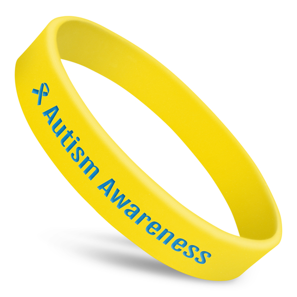 Autism awareness silicone wristband with yellow silicone and blue ink and ribbon