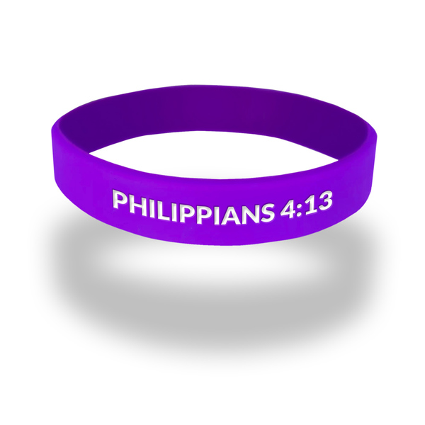 Philippians 4:13 rubber wristband in purple with white ink