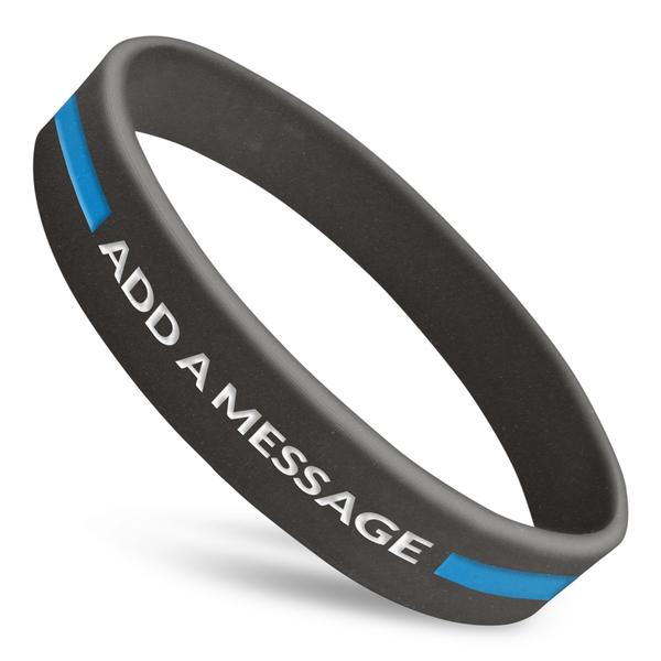 thin blue line custom silicone wristband
