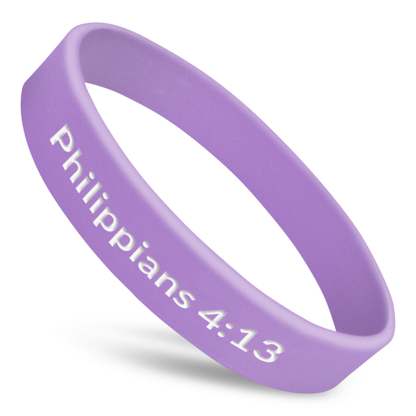 phillipians 4:13 wristband in purple with white ink