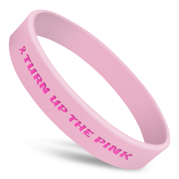 turn up the pink silicone wristband with awareness ribbon