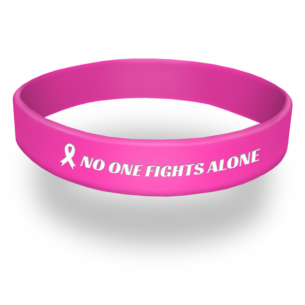 no one fights alone pink wristband with ribbon