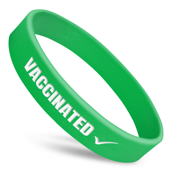 vaccinated wristband in green with white text