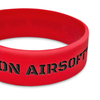 red wide wristband with black ink fill text
