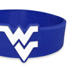 close up of blue die cut wristband with white ink filled logo