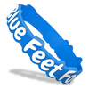 blue die cut wristband with white ink filled text