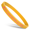 yellow ultra thin wristband with pink ink filled text