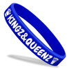 blue classic silicone wristband with white ink filled text