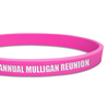 close up ultra thin pink wristband with white ink filled text