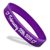 purple super rush wristband with white printed text