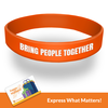 "Orange custom wristband with the words help bring people together. Includes the text ""gift cards now available"" along the bottom border."