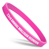 ultra thin pink wristband with white ink filled text