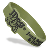dark green die cut wristband with black ink filled message and logo