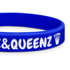 close up of blue classic wristband with white ink