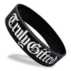 black wide wristband with white ink fill text