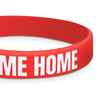 close up of red classic wristband with white text
