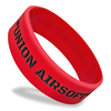 wide red wristband with black ink filled text