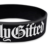 close up of black wide wristband with white ink filled text