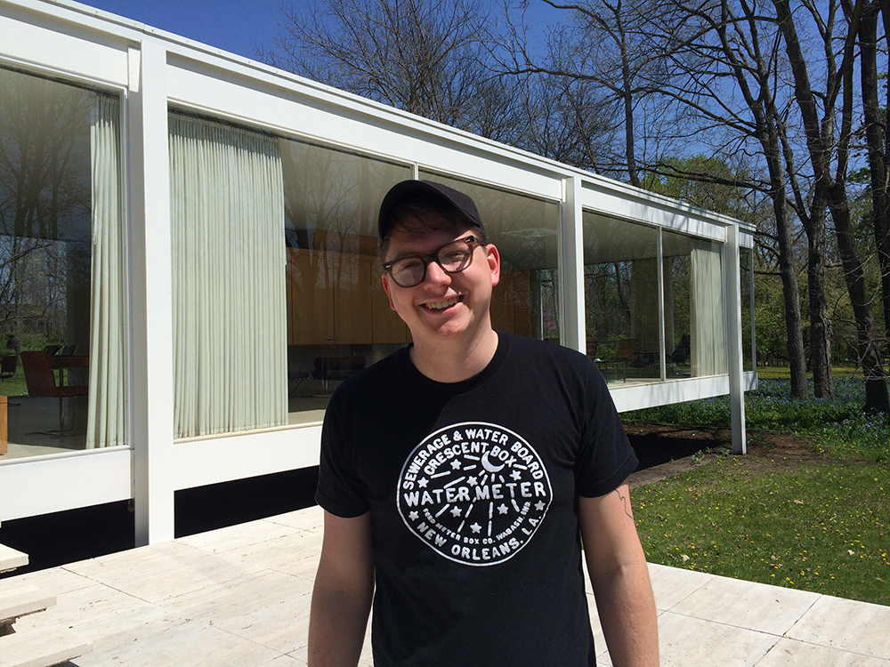 Kyle Bolyard at Mies van der Rohe's Farnsworth House in Plano, Illinois. (Courtesy of Amanda Snyder)