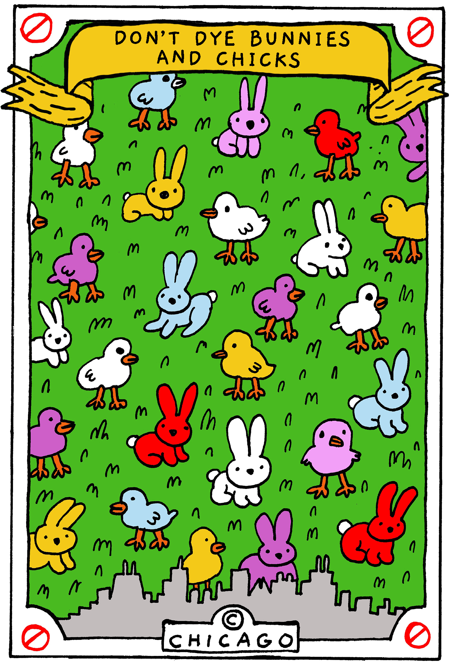 This is a drawing of multi-colored bunnies and chicks.