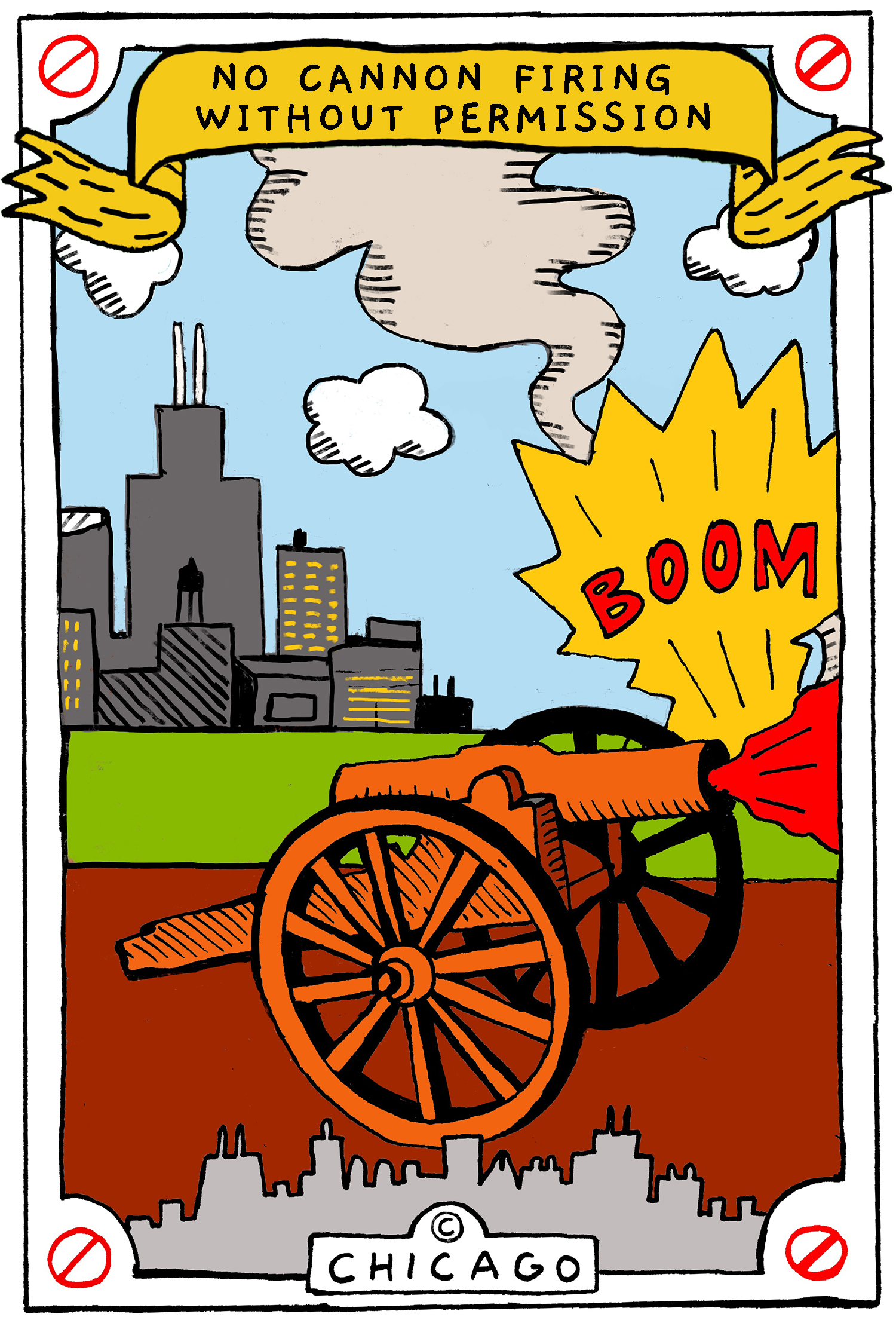 This is a drawing of a cannon being fired on a city block in Chicago.