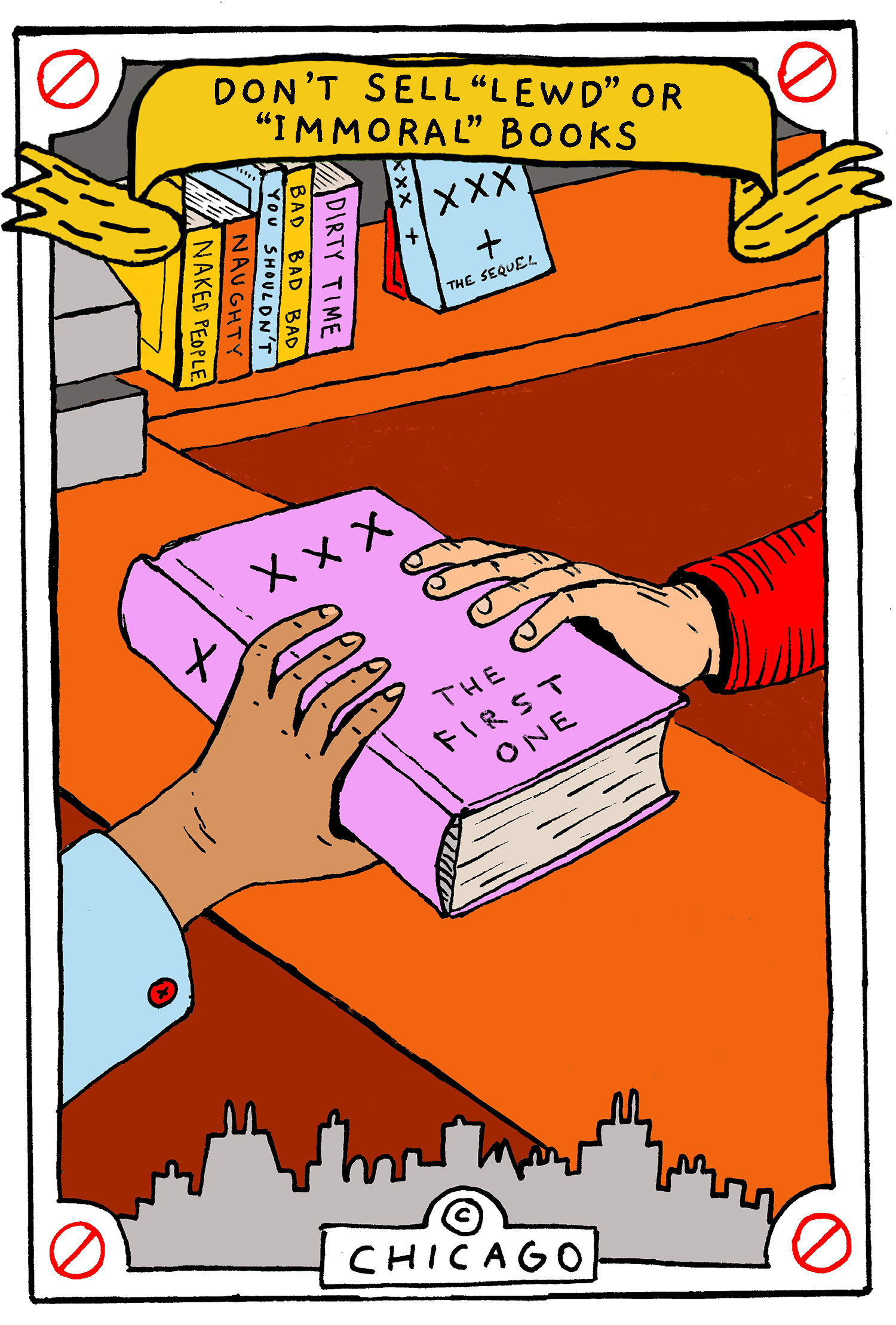 "This is a drawing of someone purchasing a book with the title, ""XXX: The First One"" on it."