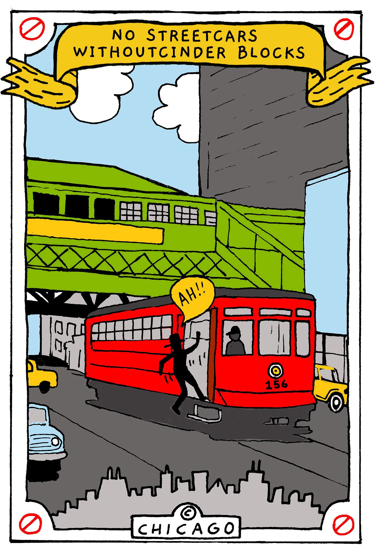 This is a drawing of someone falling while trying to disembark a streetcar.