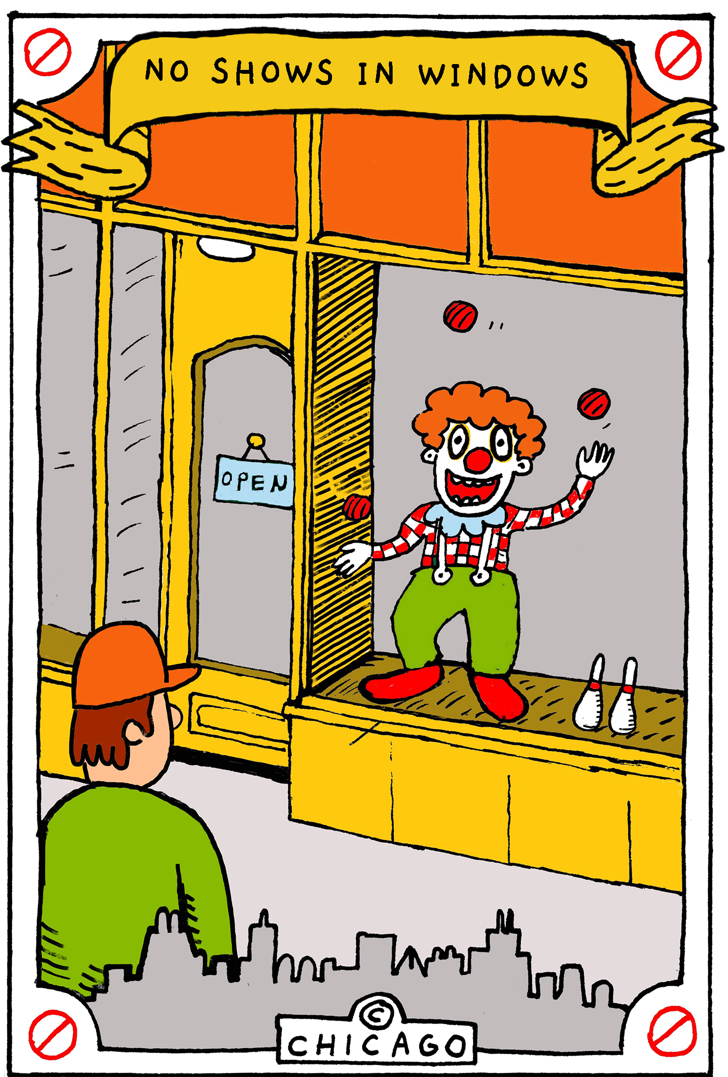 This is a drawing of a clown performing a juggling act in a storefront window.