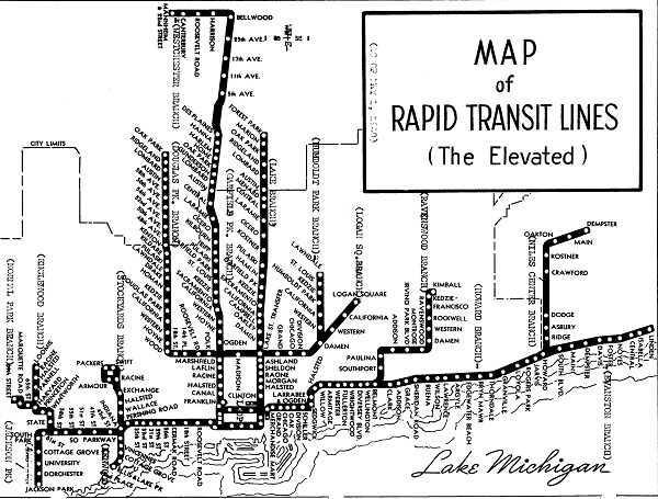 Chicago 'L' map, 1940 (author's collection)