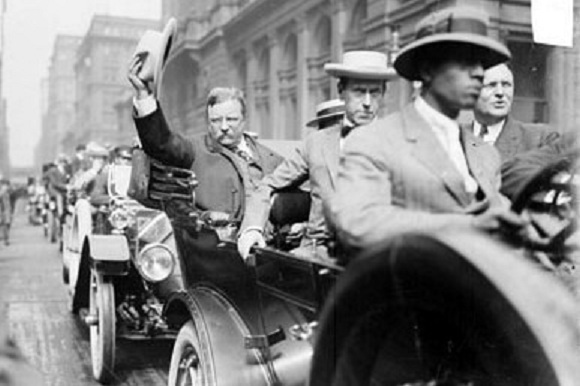August 6, 1912--Roosevelt arriving in Chicago (Library of Congress/Chicago Daily News)