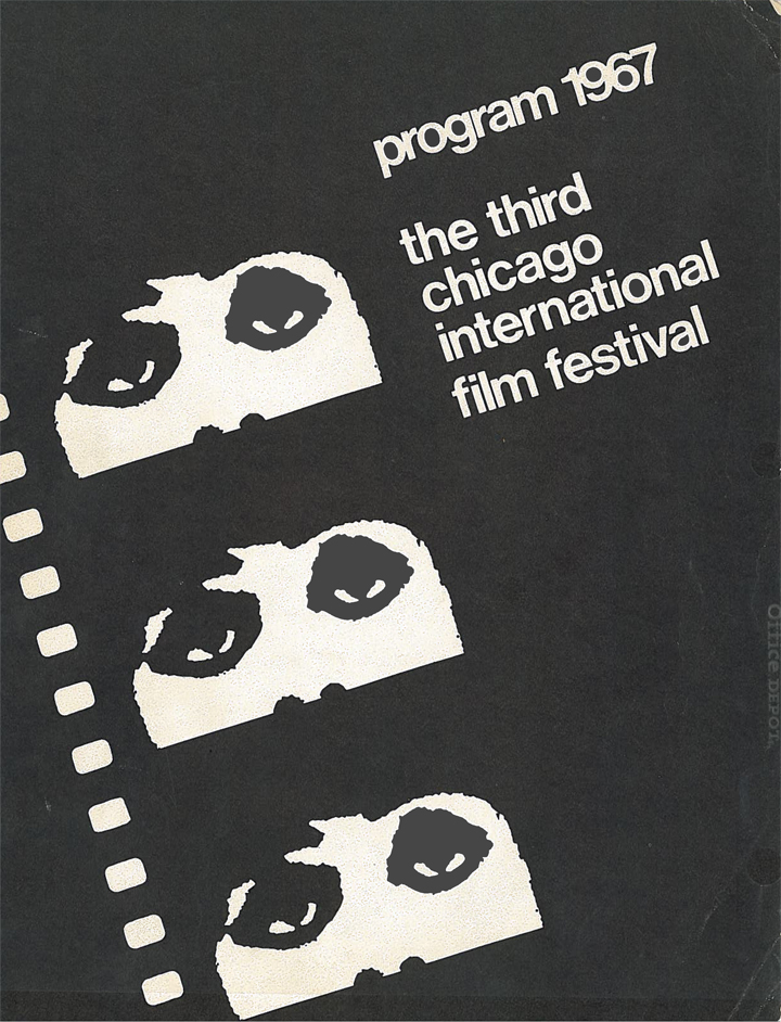 The Chicago International Film Festival Program, 1967. Those ubiquitous eyes finally appear for the festival's third outing. Click to enlarge. (Image courtesy of Michael Kutza)