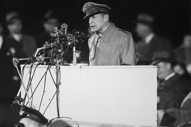 MacArthur speaking at Soldier Field (U.S. State Department photo)