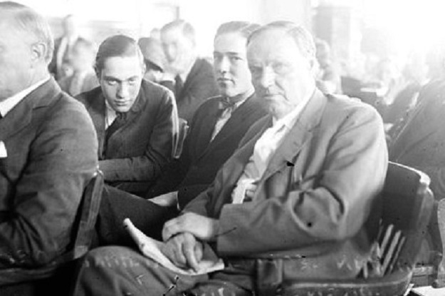 Leopold, Loeb, and Darrow in court (Library of Congress)