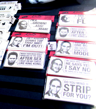 Unofficial R. Kelly bumper stickers for sale at Pitchfork (WBEZ/Andrew Gill)
