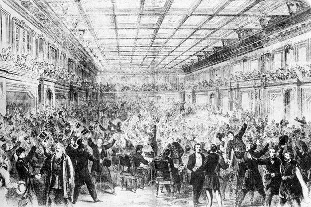 The House celebrates passage of the 13th Amendment ('Frank Leslie's Illustrated Newspaper'--February 18, 1865)
